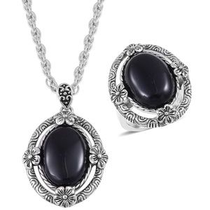 Jewelry - Black Onyx ring and Pendant With Chain